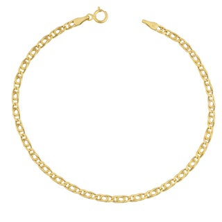 Fremada 10k Yellow Gold 2.5mm High Polish Hollow Flat Link Bracelet (7.5 inches)