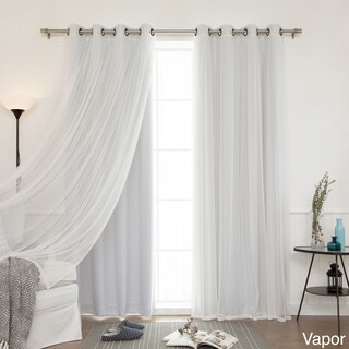 "4-piece Sheer Blackout Grommet Top Curtain Panels (Option: Vapor, 84"")"