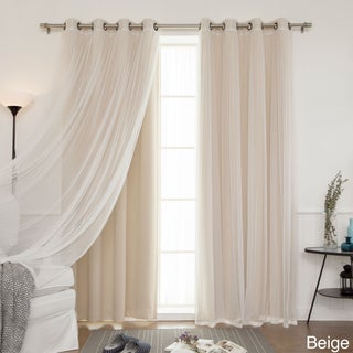 4-piece Sheer Blackout Grommet Top Curtain Panels (5 options available)