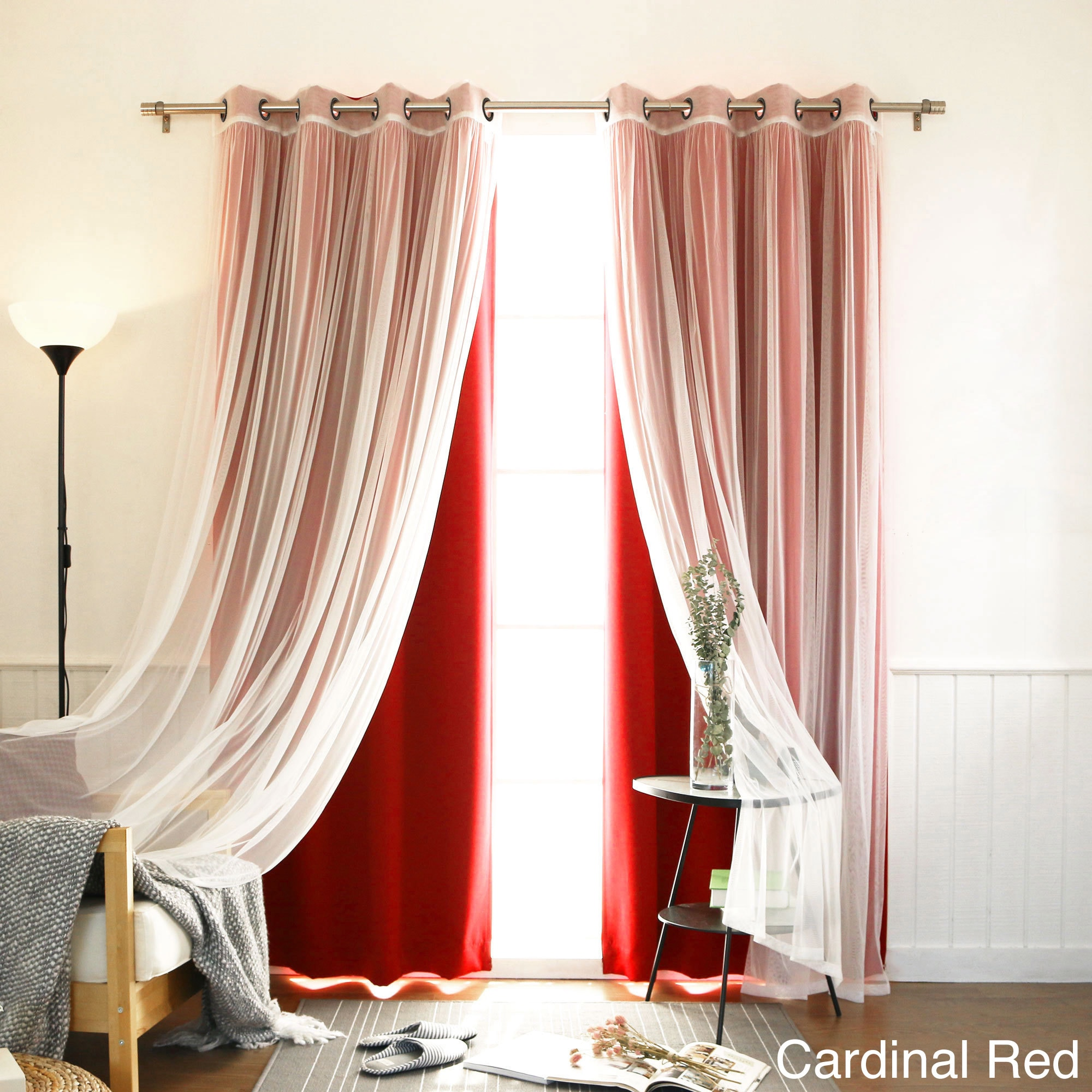 4 Piece Sheer Blackout Grommet Top Curtain Panels (3 Options Available)