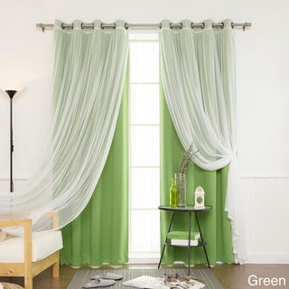 Aurora Home MIX & MATCH CURTAINS Blackout Tulle Lace Sheer Bronze Grommet 4-piece Curtain Panel Pair
