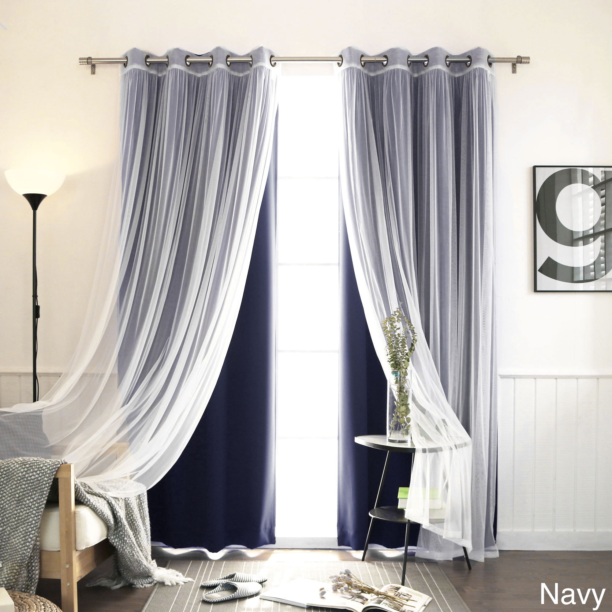 4-piece Sheer Blackout Grommet Top Curtain Panels (Navy, ...