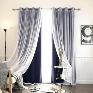 Aurora Home MIX & MATCH CURTAINS Blackout Tulle Lace Sheer Bronze Grommet 4-piece Curtain Panel Pair