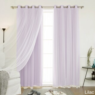 "4-piece Sheer Blackout Grommet Top Curtain Panels (Option: Lilac, 84"")"