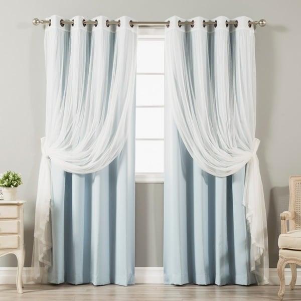 Aurora Home Mix & Match Tulle Lace 4-piece Blackout Curtain Panel Set