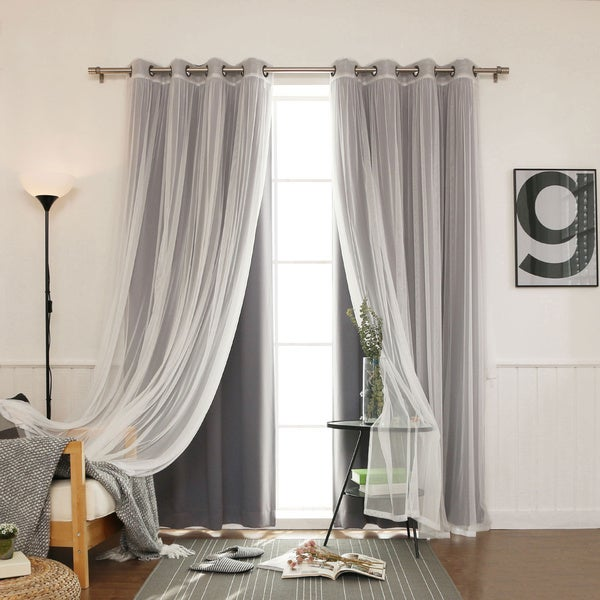 Aurora Home Mix and Match Blackout Tulle Lace 4-piece Curtain Set. Opens flyout.