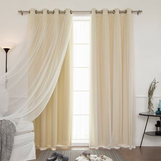 Aurora Home Mix & Match Blackout Tulle Lace Bronze Grommet 4 Piece Curtain Panel Set (52W x 84L - Wheat)