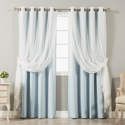 Aurora Home Mix & Match Blackout Tulle Lace Bronze Grommet 4 Piece Curtain Panel Set