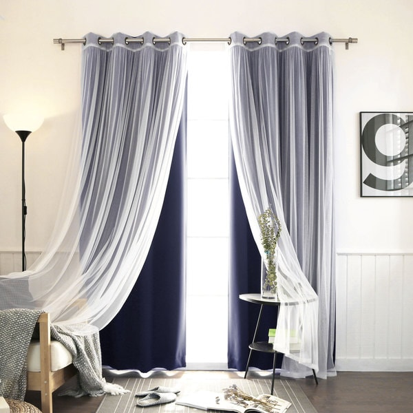 Aurora home mix amp match blackout with tulle lace sheer 4 piece bronze grommet curtain set