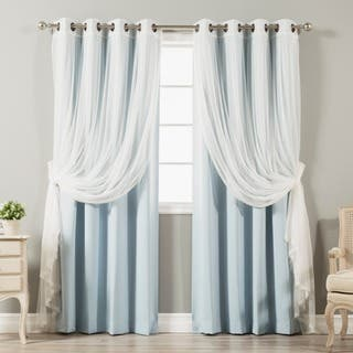Aurora Home Mix Match Blackout Tulle Lace Bronze Grommet 4 Piece Curtain Panel Set