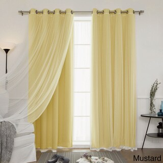 Aurora Home MIX & MATCH CURTAINS Blackout and Tulle Lace Sheer Bronze Grommets Curtain Panel Pair (4-piece)