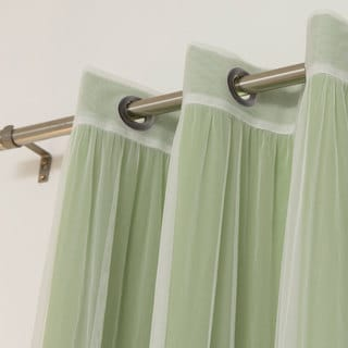 Aurora Home MIX and MATCH CURTAINS Blackout and Tulle Lace Sheer Bronze Grommets Curtain Panel Pair (4-piece)