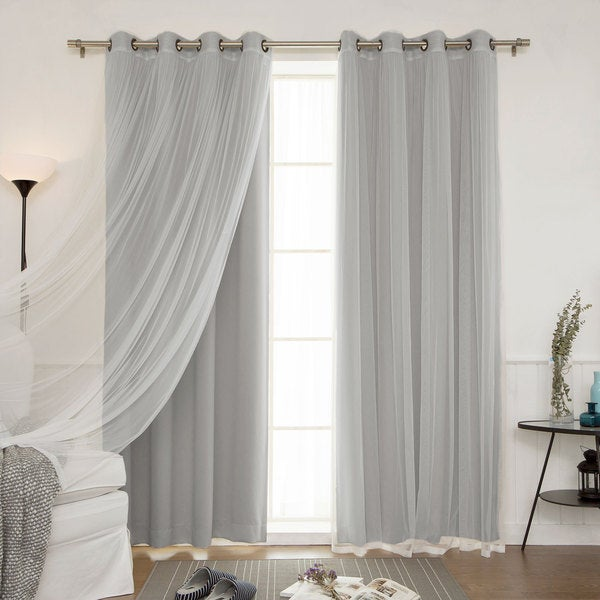 Aurora Home Mix and Match Curtains Blackout and Tulle Lace Sheer Curtain Panel Set (4-piece). Opens flyout.