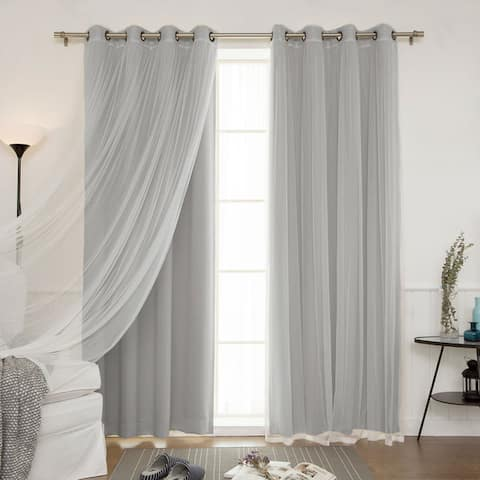 Aurora Home Mix and Match Curtains Blackout and Tulle Lace Sheer Curtain Panel Set (4-piece)