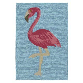 Indoor/ Outdoor Beachcomber Flamingo Blue Rug (2' x 3')