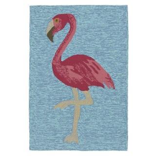Indoor/ Outdoor Beachcomber Flamingo Blue Rug (2' x 3')
