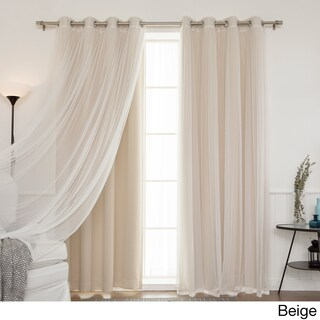 Aurora Home Mix and Match Blackout and Tulle Lace Sheer Silver Grommet 4-piece Curtain Panels (5 options available)