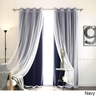 Aurora Home MIX & MATCH CURTAINS Blackout and Tulle Lace Sheer Silver Grommet 4-piece Curtain Panel Pair