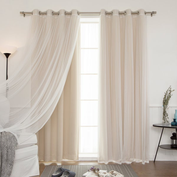 Aurora Home Mix and Match Blackout and Tulle Lace Sheer Silver Grommet 4-piece Curtain Panels
