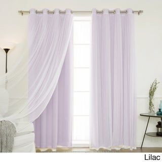 "Aurora Home Mix and Match Blackout and Tulle Lace Sheer Silver Grommet 4-piece Curtain Panels (Option: Lilac, 84"")"