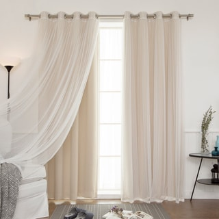 aurora home mix and match blackout and tulle lace sheer silver grommet 4piece curtain