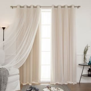 Aurora Home Mix and Match Blackout and Tulle Lace Sheer Silver Grommet 4-piece Curtain Panels|https://ak1.ostkcdn.com/images/products/11816194/P18722874.jpg?impolicy=medium