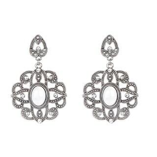 Silver Vintage Flower Dangle Earrings