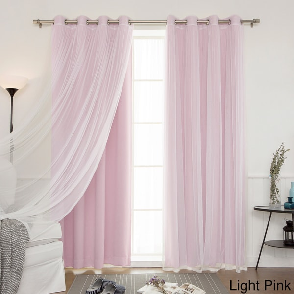 Aurora Home Mix U0026 Match Blackout And Sheer Tulle Lace 4 Piece Curtain Panel  Pair   Free Shipping Today   Overstock.com   18722886