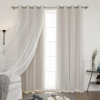Aurora Home Mix & Match Sheer Tulle Lace 4-piece Blackout Curtain Panel Pair