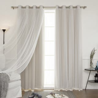 Aurora Home Mix Match Blackout And Sheer Tulle Lace 4 Piece Curtain Panel Set