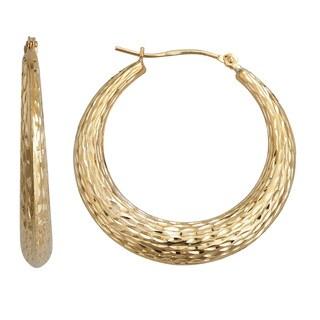 Decadence 14k Yellow Gold Diamond-cut Fancy Round Hoop Earrings