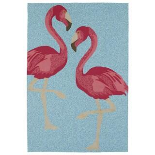 Indoor/ Outdoor Beachcomber Flamingo Blue Rug (5' x 7'6)