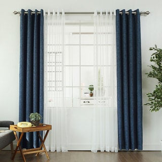 Aurora Home MIX & MATCH CURTAINS Linen Look Blackout and Zigzag Sheer 84-inch Grommet 4-piece Curtain Panel Pair - 52 x 84