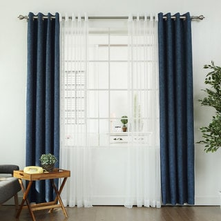 Aurora Home MIX & MATCH CURTAINS Linen Look Blackout and Zigzag Sheer 84-inch Grommet 4-piece Curtain Panel Pair