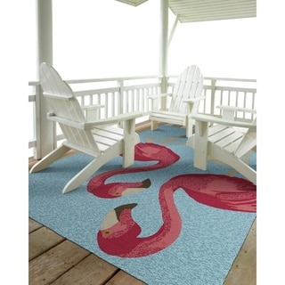 Indoor/Outdoor Beachcomber Flamingo Blue Rug (7'6 x 9')