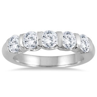Marquee Jewels 14k White Gold 1 1/2ct TDW Bar Set 5 Stone Diamond Band (I-J, I2-I3)