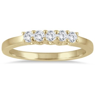 Marquee Jewels 14k Yellow Gold 1/4ct Diamond 5 Stone Band