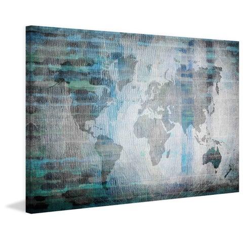 Parvez Taj - The World in Blue Print on Canvas