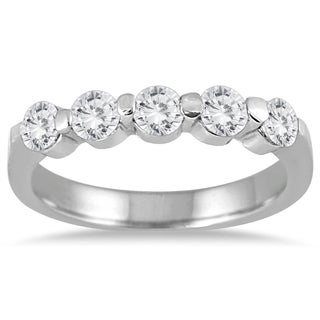 Marquee Jewels 10K White Gold 3/4ct Prong Set 5 Stone Diamond Band