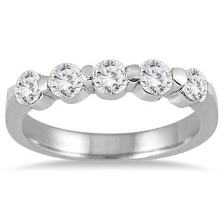 Marquee Jewels 10K White Gold 3/4ct Prong Set 5 Stone Diamond Band (I-J, I2-I3)