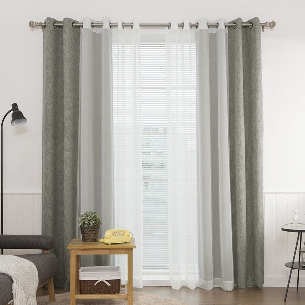 Aurora Home Heathered Linen Look Blackout And Muji Sheer 4 Piece Curtain Panel Pair