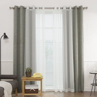 Aurora Home Heathered Linen Look Blackout and Muji Sheer 4-piece Curtain Panel Pair - 52 x 84