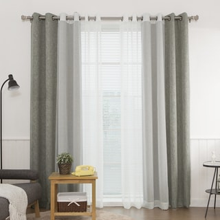 Aurora Home Heathered Linen Look Blackout and Muji Sheer 4-piece Curtain Panel Pair