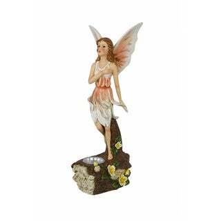 Polyresin/Plastic 15-inch Multicolored Solar-powered Fairy Statuary