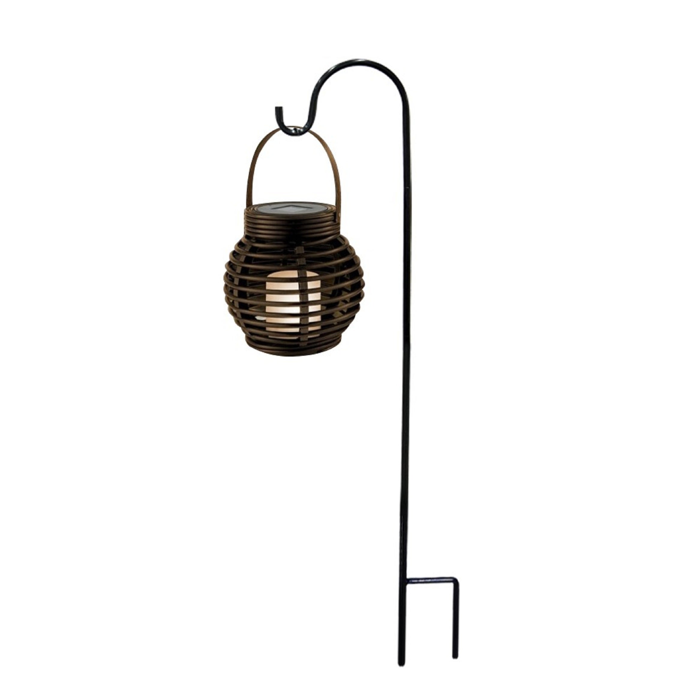 Solar LED Lantern with Sheperds Hook Metal Stake (Multi Color)