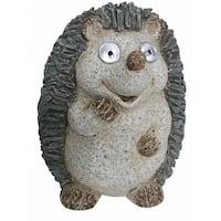 Brown/Grey/Beige Polystone 15-inch Solar Hedgehog Statue