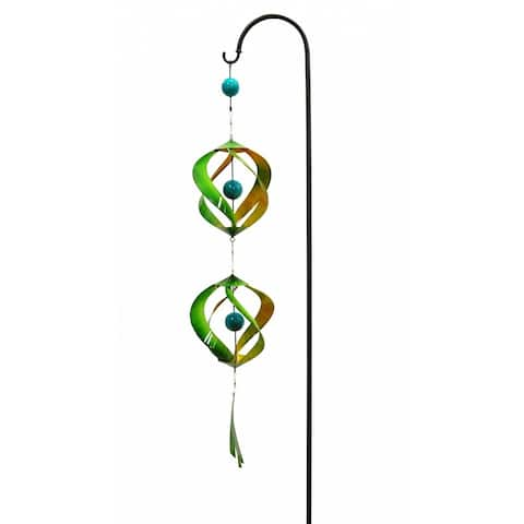 Green/Yellow Decorative Metal Swirls With Shepherd Hook