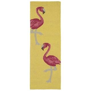 Indoor/ Outdoor Beachcomber Flamingo Yellow Rug - 2' x 6'