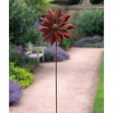 Dark Red 73-inch Leaf Windmill Stake