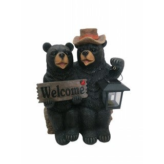Couple of Bears With Solar Lantern and Welcome Sign 15-inch Statue